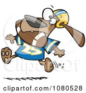 Clipart Football Dog Running With The Ball In His Mouth Royalty Free Vector Illustration