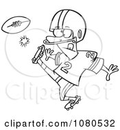Clipart Outlined Football Player Kicking Royalty Free Vector Illustration