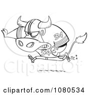 Clipart Outlined Football Bull Running Royalty Free Vector Illustration by toonaday
