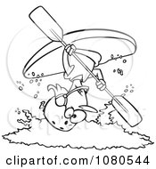 Clipart Outlined Female Kayaker Doing A Flip Over White Water Royalty Free Vector Illustration