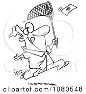 Clipart Outlined Businessman Chasing Money With A Net Royalty Free Vector Illustration