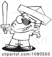 Outlined Pirate Boy With A Newspaper Hat And Sword