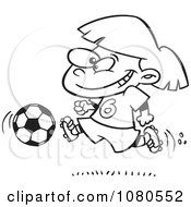 Clipart Outlined Soccer Girl Running Royalty Free Vector Illustration
