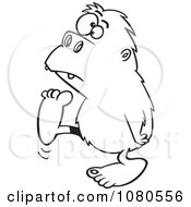 Clipart Outlined Bigfoot Walking To The Left Royalty Free Vector Illustration