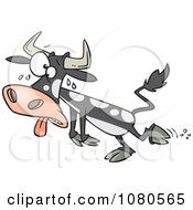 Clipart Sweating Hot Cow Royalty Free Vector Illustration by toonaday
