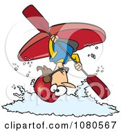 Clipart Female Kayaker Doing A Flip Over White Water Royalty Free Vector Illustration by toonaday