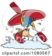 Female Kayaker Doing A Flip Over White Water