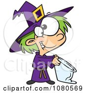 Clipart Halloween Witch Girl Trick Or Treating Royalty Free Vector Illustration