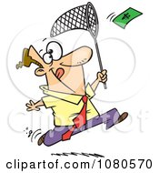 Clipart Businessman Chasing Money With A Net Royalty Free Vector Illustration