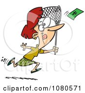 Clipart Businesswoman Chasing Money With A Net Royalty Free Vector Illustration