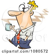 Clipart Businessman Carrying Hot Coffee Royalty Free Vector Illustration