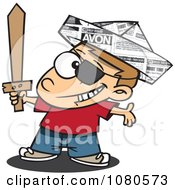 Clipart Pirate Boy With A Newspaper Hat And Sword Royalty Free Vector Illustration by toonaday