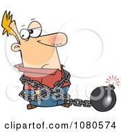 Clipart Man In A Predicament Chained To A Bomb Royalty Free Vector Illustration
