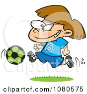 Clipart Soccer Girl Running Royalty Free Vector Illustration by toonaday