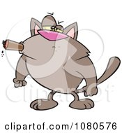 Tough Cat Smoking A Cigar