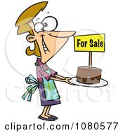 Clipart Pleased Bake Sale Woman Holding Out A Cake Royalty Free Vector Illustration
