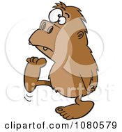 Clipart Bigfoot Walking To The Left Royalty Free Vector Illustration