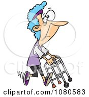 Clipart Healthy Granny Exercising With Her Walker Royalty Free Vector Illustration