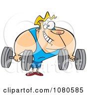 Clipart Strong Body Builder Holding Dumbbells Royalty Free Vector Illustration
