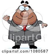 Chubby Black Businessman Boss Waving