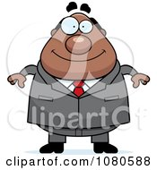 Clipart Chubby Black Businessman Boss Royalty Free Vector Illustration by Cory Thoman
