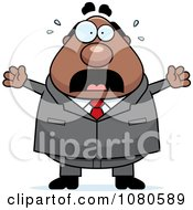 Clipart Chubby Black Businessman Boss Freaking Out Royalty Free Vector Illustration