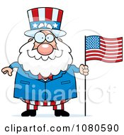 Clipart Chubby Uncle Sam With An American Flag Royalty Free Vector Illustration