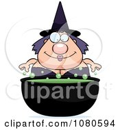 Clipart Chubby Witch Over A Cauldron Royalty Free Vector Illustration