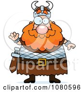 Clipart Chubby Viking Waving Royalty Free Vector Illustration