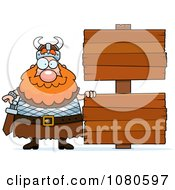 Clipart Chubby Viking With Signs Royalty Free Vector Illustration