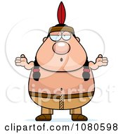 Clipart Chubby Native American Man Shrugging Royalty Free Vector Illustration