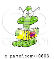 A Young Male Bookworm Wearing Glasses Reading A Book About Apples Clipart Illustration by Spanky Art
