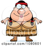 Clipart Chubby Native American Woman Royalty Free Vector Illustration