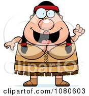 Clipart Chubby Native American Woman With An Idea Royalty Free Vector Illustration