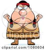 Clipart Chubby Native American Woman Waving Her Fists Royalty Free Vector Illustration