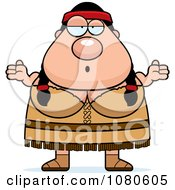 Clipart Chubby Native American Woman Shrugging Royalty Free Vector Illustration