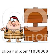 Clipart Chubby Native American Woman With Wood Signs Royalty Free Vector Illustration