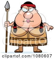 Clipart Chubby Native American Woman With A Spear Royalty Free Vector Illustration