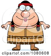 Clipart Chubby Native American Female Royalty Free Vector Illustration