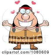 Clipart Chubby Native American Female With Open Arms Royalty Free Vector Illustration