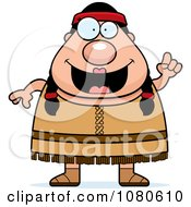 Clipart Chubby Native American Female With An Idea Royalty Free Vector Illustration