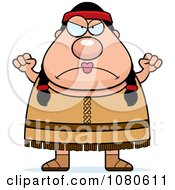 Clipart Chubby Native American Female Waving Her Fists Royalty Free Vector Illustration