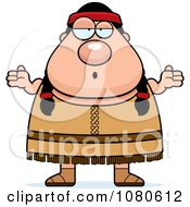Clipart Chubby Native American Female Shrugging Royalty Free Vector Illustration