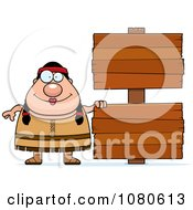 Clipart Chubby Native American Female With Wood Signs Royalty Free Vector Illustration