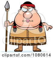 Clipart Chubby Native American Female With A Spear Royalty Free Vector Illustration