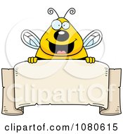 Clipart Chubby Bee Over A Blank Parchment Banner Royalty Free Vector Illustration