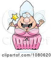 Clipart Chubby Fairy Godmother Holding A Wand Royalty Free Vector Illustration by Cory Thoman