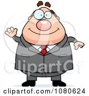 Clipart Chubby Caucasian Businessman Boss Waving Royalty Free Vector Illustration by Cory Thoman