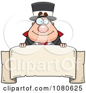 Clipart Chubby Magician Over A Blank Parchment Banner Royalty Free Vector Illustration