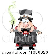 Clipart Chubby Magician Holding A Magic Wand Royalty Free Vector Illustration by Cory Thoman